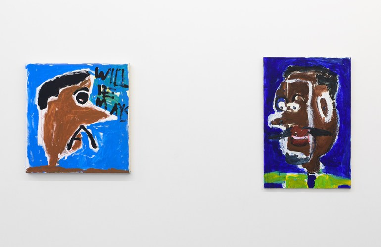 "Two paintings hanging on a white wall. The painting on the left is square and features a side profile portrait of a man with brown skin a, black hair, and a black mustache, looking to the right on a blue background. The words ""Will E Mays"" hover the man's large nose. The paining on the right is rectangular, and features a man in profile, facing left, with darker brown skin, black hair, and a black mustache on a deep blue background, wearing a lime green shirt."