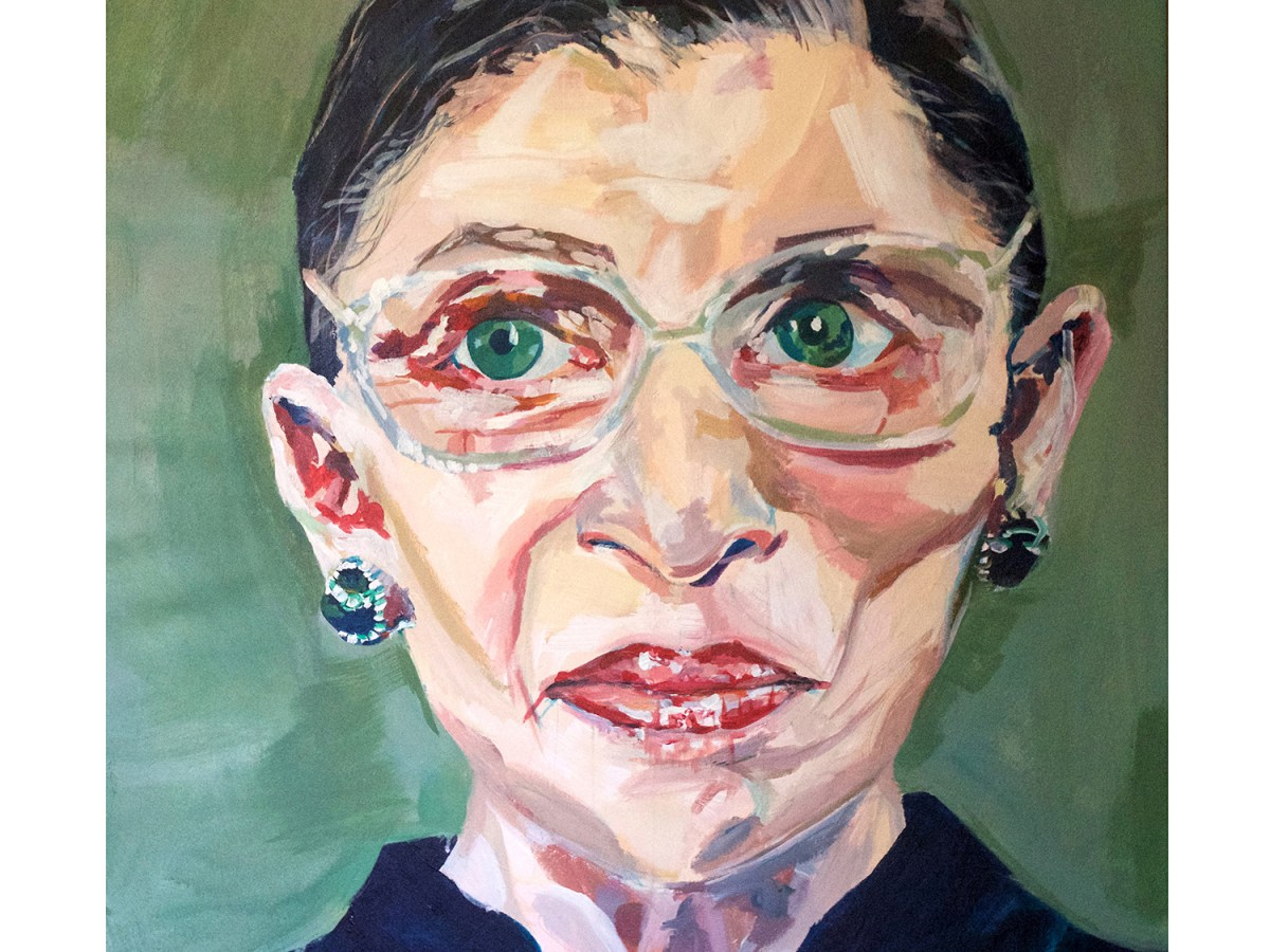 A painting of Associate Justice of the Supreme Court of the United States. The painter used large, evocative brushstrokes to create a portrait that is both painterly and immediately recognizable as Ruth Bader Ginsburg.