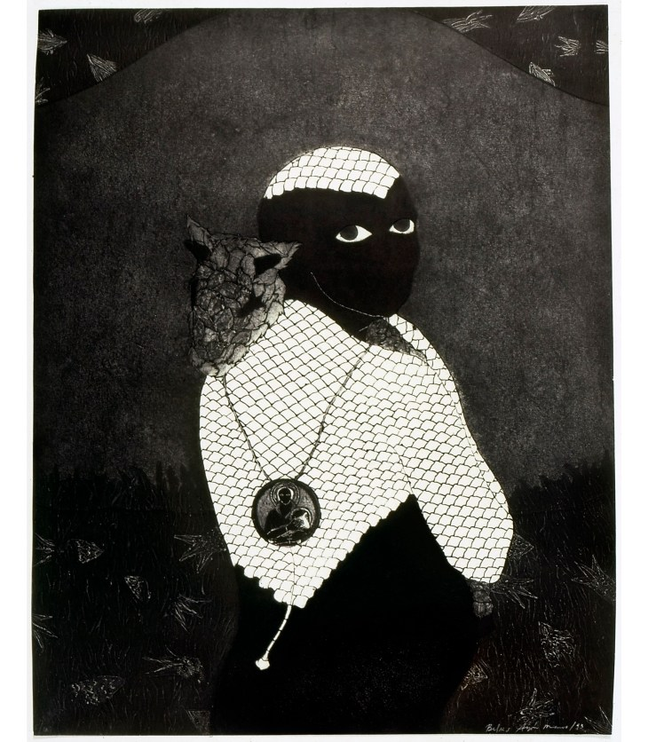 A collagraph print in mood tones of black, grey, and white. The print depicts a person with pitch black skin, no facial features besides who bright white eyes, and white scales covering their upper body, arms, and the top of their head. A necklace hands down their shoulders, and a large, circular pendant with a person, maybe some saint, hangs in the middle of their back. The figure carries a small, scaly animal, which rests its head on the figure's shoulder. The background is textured grey.