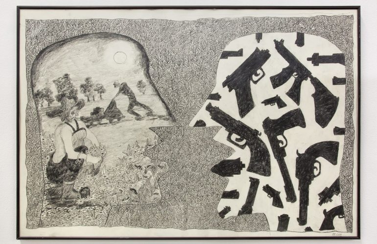 black and white drawing of two mirrored silhouettes of open-mouthed faces in profile—the left filled with the image of a woman in work clothes, kneeling to pick flowers; the right filled with images of handguns and assault rifles—against a patterned background of leaves.