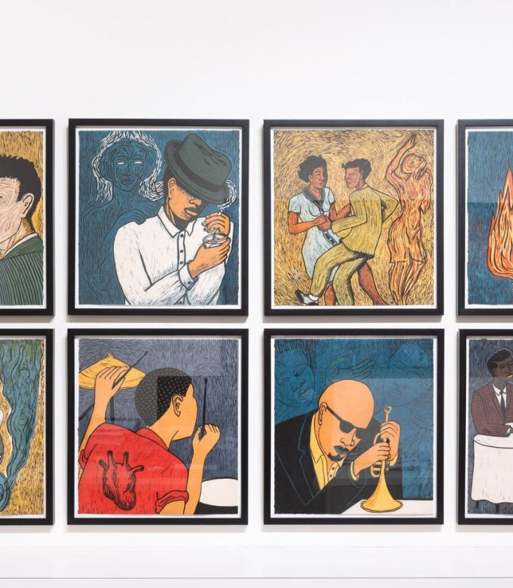 Wall of eight linocuts of figures, each performing different tasks, i.e. playing the saxophone, the drums, leaning on a trumpet, dancing with a partner, lighting a cigarette, etc. Warm yellows and blues, splashes of white and red, and strategic shadows create a nostalgic, noir feel.