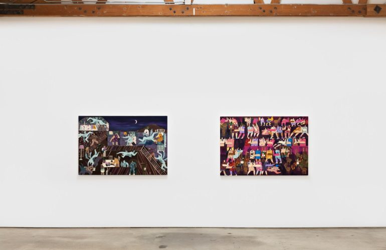 Two paintings hanging side by side in a gallery space, above concrete flooring, below wood support beams. Both arrange two-dimensional human figures in geometric rows, all of which interact with each other, some lying on the ground, others seated at tables, leaning against each other, etc.