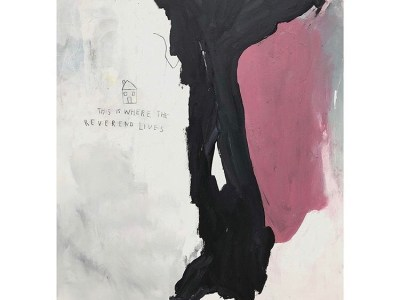 """Small, handwritten text reading """"This is WHERE THE REVEREND LIVES"""" is etched beneath a rendering of a small house, swallowed up by a sea of white paint. Gouging across the center-right of the canvas, a mass of black and an abutting mass of warm pink hover."""