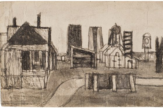 crude sketch of a rural scene made combining soot and saliva on found paper—features the facade of a farmhouse, a shed, a white barn, a windmill, a fence. The ground is a light shade of grey; the sky, the naked, off-white of the paper.