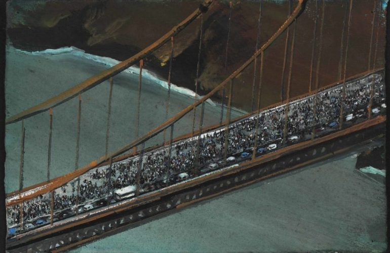 Painting of an aerial view of the Golden Gate Bridge packed with protestors, who are marching across it. The one lane of traffic on the bridge is stopped, bumper to bumper,. In the background, water from a flat San Francisco Bay meanders under the bridge.