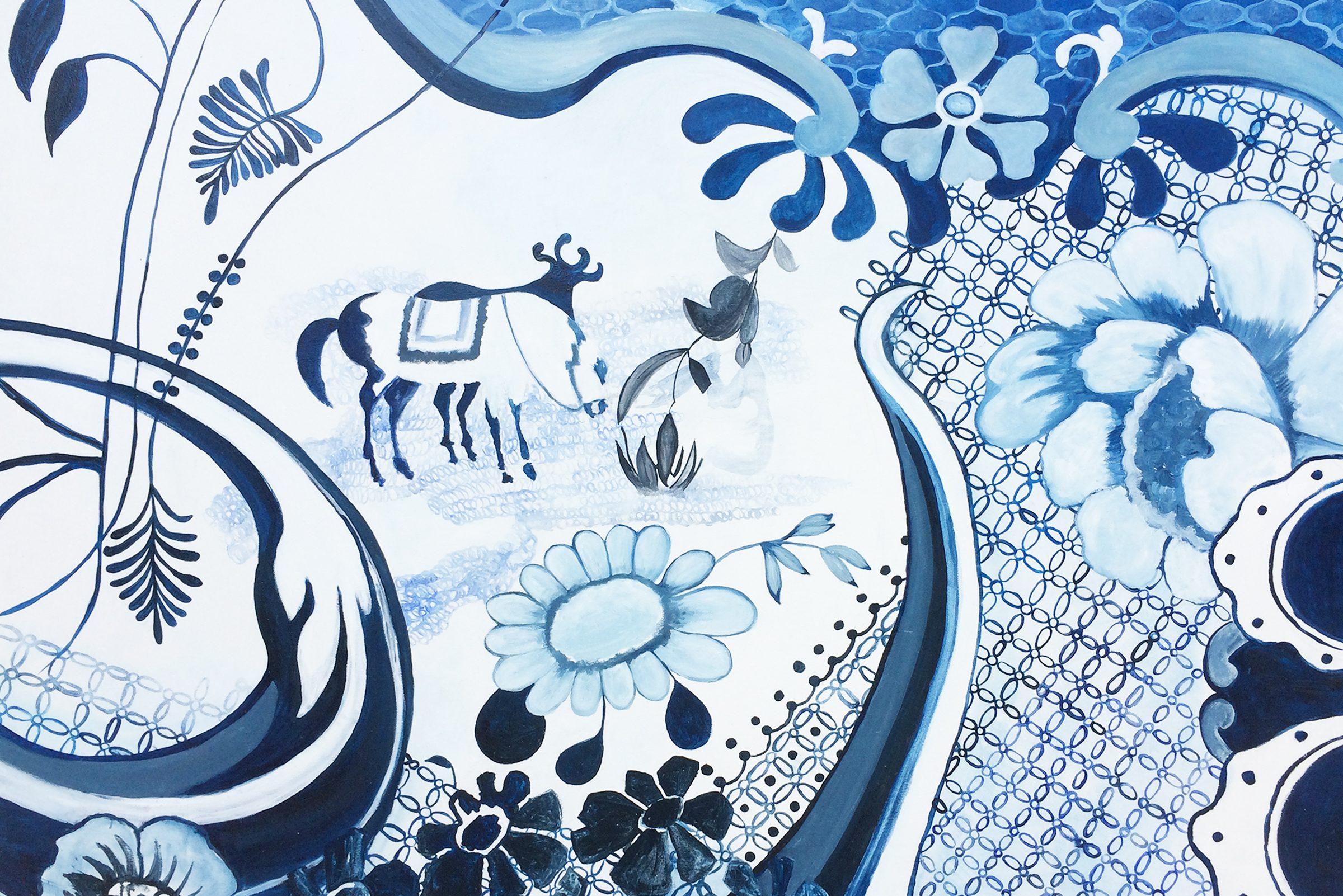 painting featured on colonial era pottery, flushed with various shades of blue, depicts multiple different types of flowers of differing verisimilitude, multiple patterns that overlap and dominate the background of the piece, and, left of center, what seems to be a mammal figure that resembles a cow, an oxen, or perhaps a donkey.