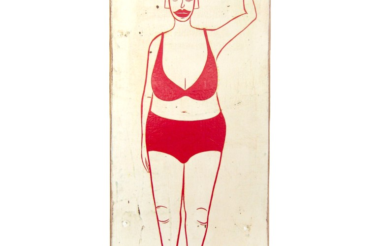 Full-body painting on found material of a woman standing upright, her hair short and lips painted the same bold red as the rest of the outline of her body. She wears little clothing and balances a large, round object on her head.