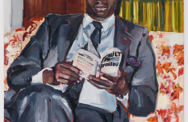 Impressionistic painting of a Black man in a pinstripe suit reclines on a floral-patterned sofa to read a book. His legs are crossed.