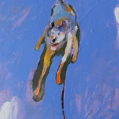 A dog rears on its hind legs, a snarl on its face. Its coat is multicolored and impressionistic, set against a deep blue backdrop.