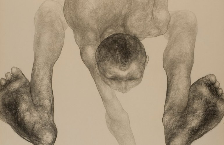 Dynamic pencil drawing of a contorted individual, their legs lifted in the air nearly over their head, their arm outstretched and reaching out of frame, creating the sense that they are mid-jump.