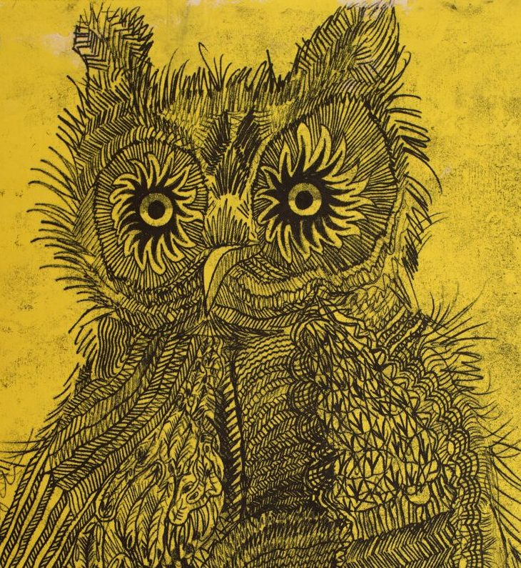 Drawing of an owl inblack flashe and oil on a golden-yellow background. The owl's feathers are rendered in a variety of different textures and techniques, giving the owl a whimsical, doodle-like quality.
