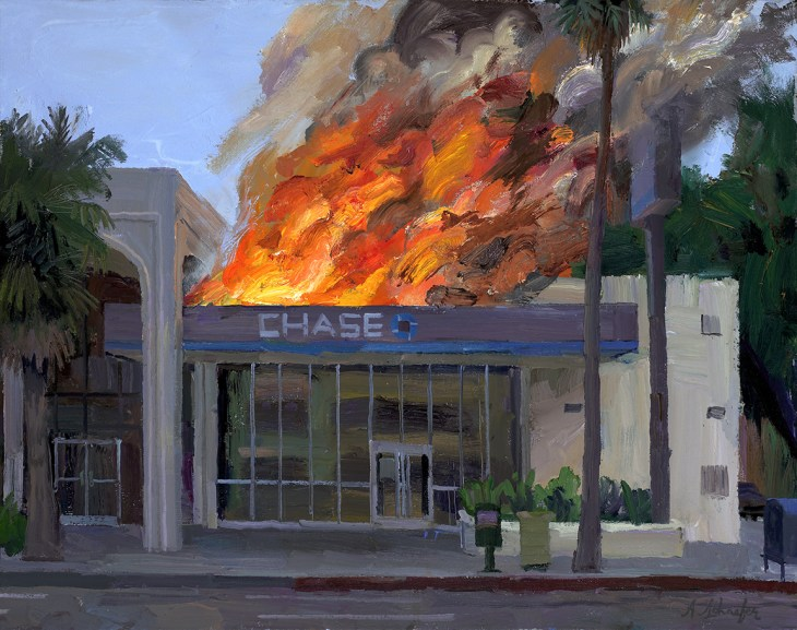 A painting of a Chase bank on fire, the storefront pristine and seemingly untouched with flames roaring out from the roof with gushes smoke just behind it.