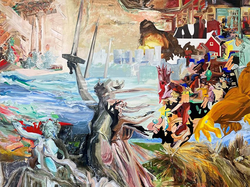 A messy and chaotic mash up of various images in heavy strokes of paint. References to classical painting, pop culture, and architecture all melt into each other, yet maintain a glimmer of familiarity.