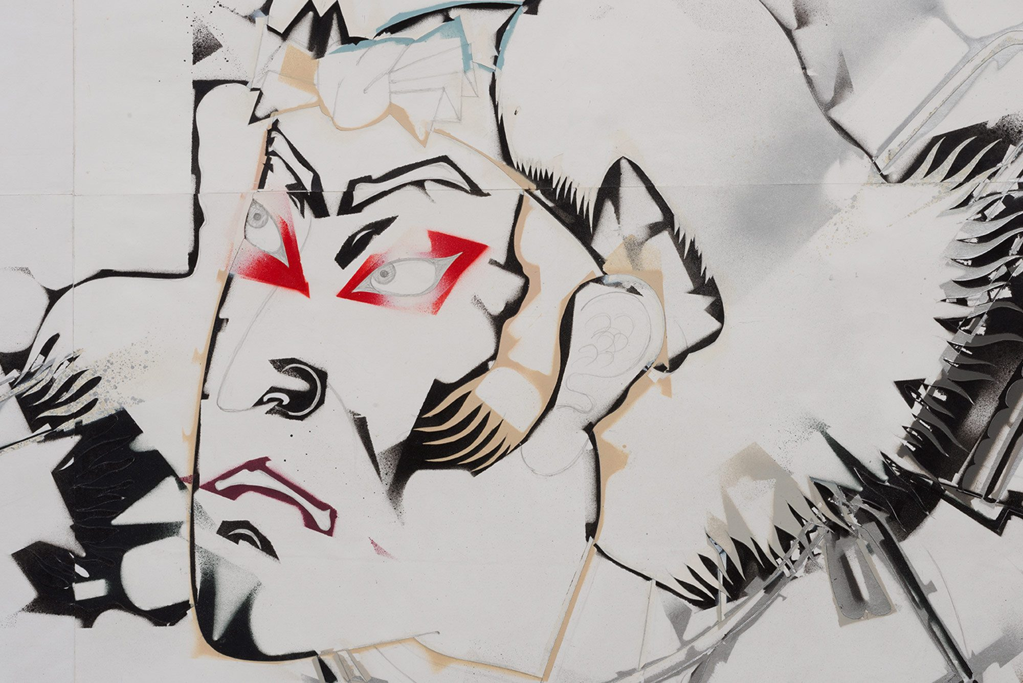 Edo-period style head of a Japanese man, his eyes fixed somewhere out of frame. Harsh and decisive strokes of spray paint pop off of pencil sketches in shiny blacks, ruby reds and subtle naked accents.
