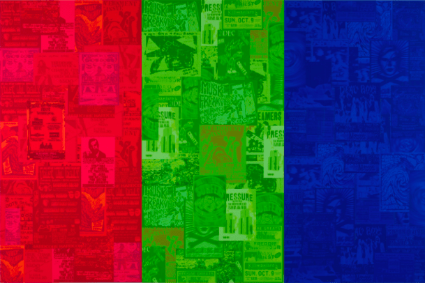 Collage of various posters, clippings, images—jumbled together and divided into three distinct side-by-side panels, each saturated a different color: red, green and blue, from left to right.