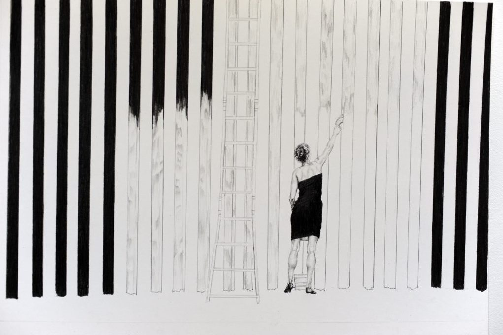 A woman wearing a black dress and heels stands on her toes and stretches her arm to paint a tall, blank column, beside which are some finished and unfinished. A ladder leans against the border wall.