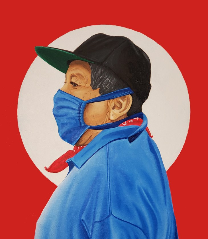A figure in profile with short hair and light-brown skin gazes out of frame and wears a blue polo, blue mask, red bandana, and black hat—painted against a deep red background with a centered white circle.