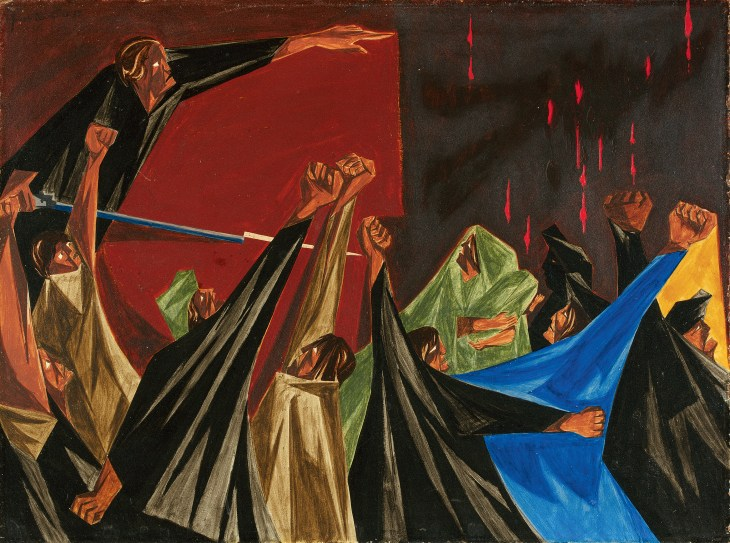 This sweeping painting elongates the limbs of its subjects' raised fists, so they appear mountainous, triangular, and dynamic. The bottom and middle of the frame is crowded with individuals of this form, creating the sensation that a group is on the verge of riot. In the top left, a man in black garb leans forward, stretching his body across the top of the piece, pointing his finger. Deep, dark colors, including shades of brown, black, red, green, and one sharp flash of blue, dominate this piece.