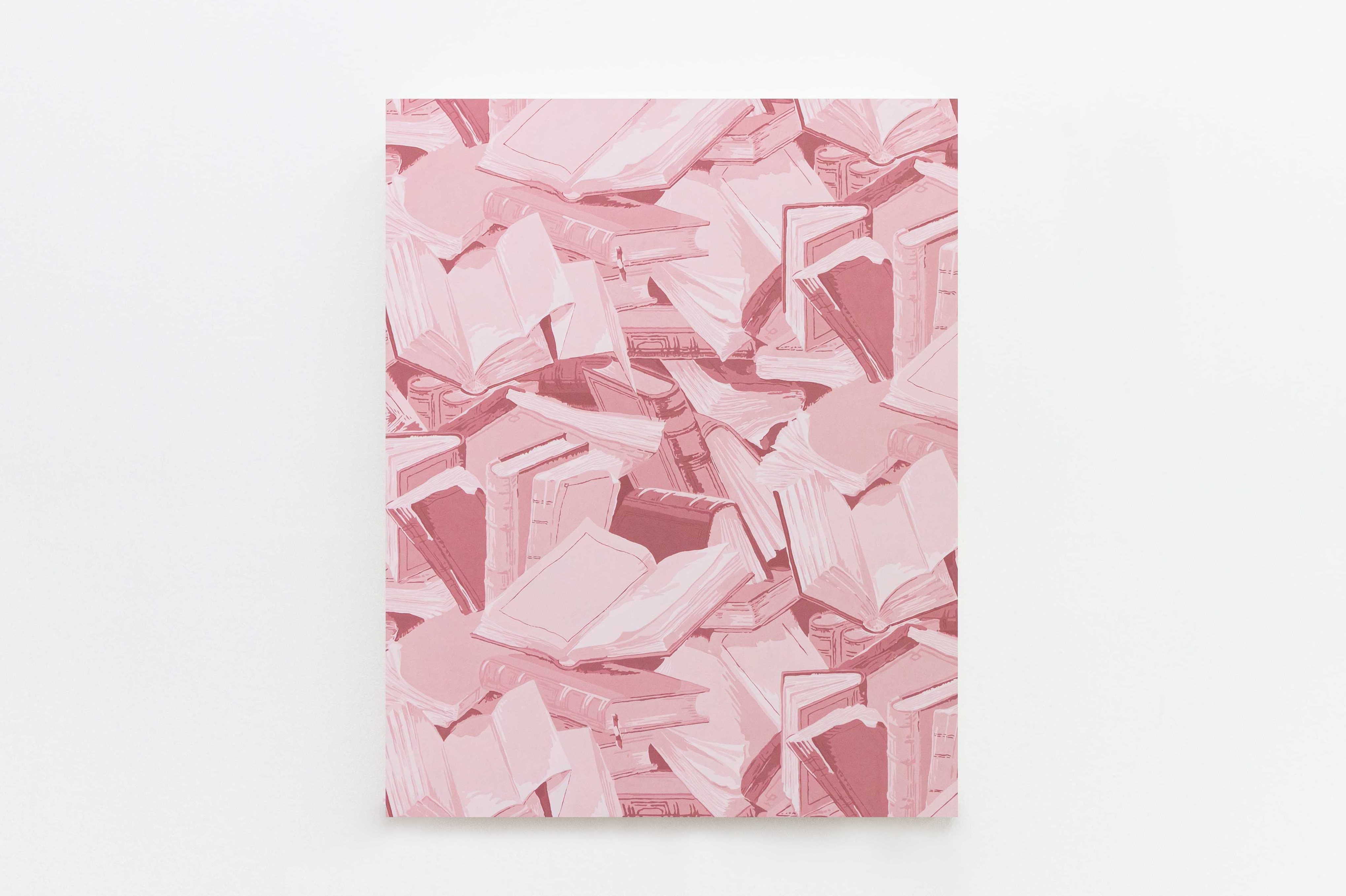 A pile of books, all shaded monochrome soft pink, crowd the entirety of the frame. Some open, some closed, some halfway in between.