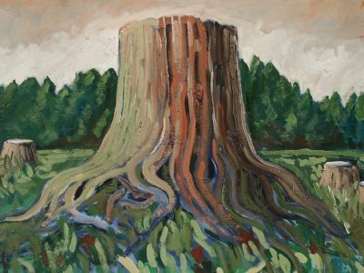 The fingers, roots of a tree stump stretch into warm green grass like veins of a river, the sky shades of pink and peach and cream, beyond, a lush treeline just below.