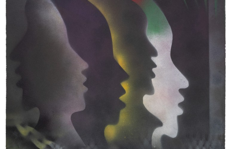 Silhouettes of faces overlap and echo and inhale luminescent smoke, in this hazy, ghoulish half-way of an image. Caught in between materialization, chain-link fence , chains and searchlights disappear behind shadows of mouths open, waiting to speak.