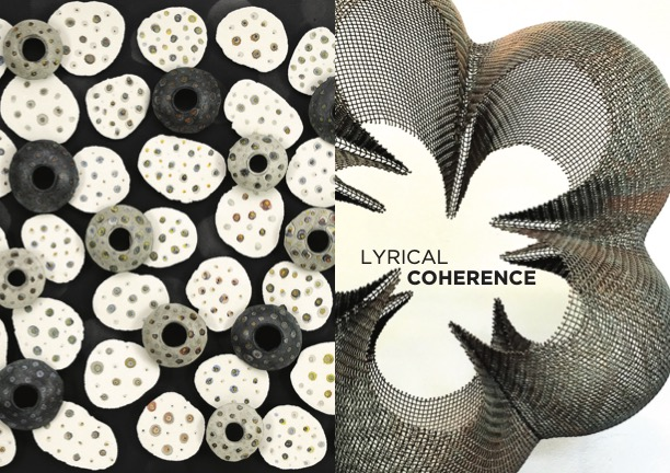 """To the left, an aerial image of round, porous objects arranged against a black background. To the right, a computer-generated image of bulbous shapes expanding away from the words """"Lyrical Coherence."""""""