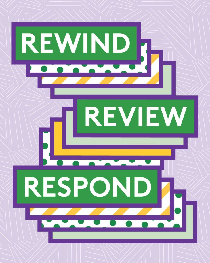 """The words """"Rewind,"""" """"Review,"""" and """"Respond"""" in colorful borders, with layers of polka-dotted, stripped, and patterned rectangles layered beneath them."""