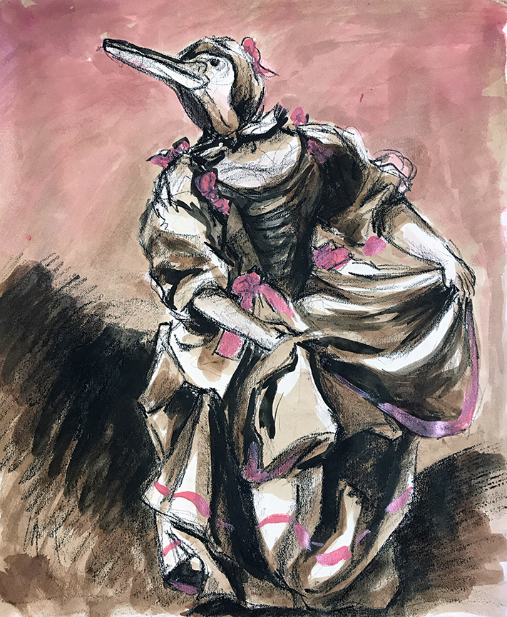 A sketched figure in a full, Victorian-era dress is caught in motion, their arms a soft blush, ribbons a warm pink, and long beak that of a duck.