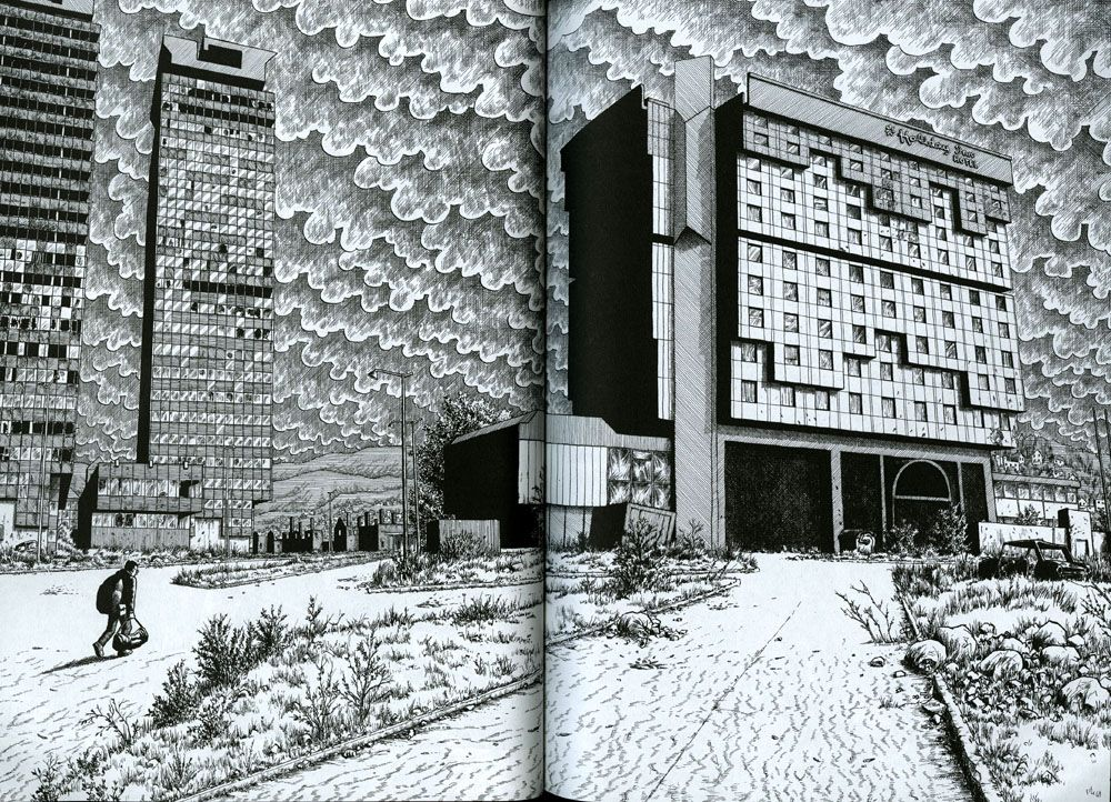 An individual in a puffy jacket, carrying a bag, is dwarfed by decrepid high-rise buildings, yawning, weed-ridden streets, and an apocalyptic, clouded sky.
