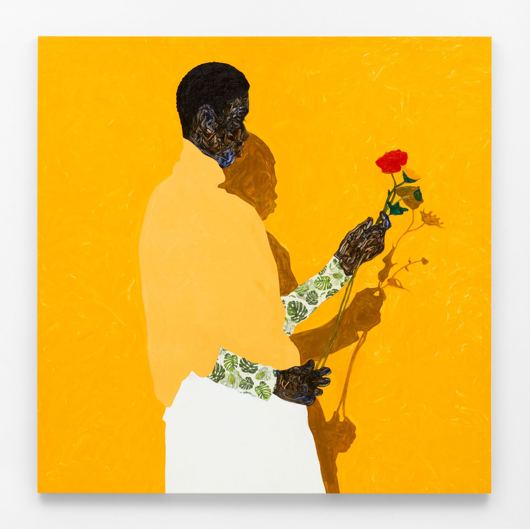 A figure in profile holds a dying flower, their form cut into the bright orange of the canvas by the outline of their shadow, creeping out from behind them, and their skin a tangle of smooth, multi-colored brushstrokes.