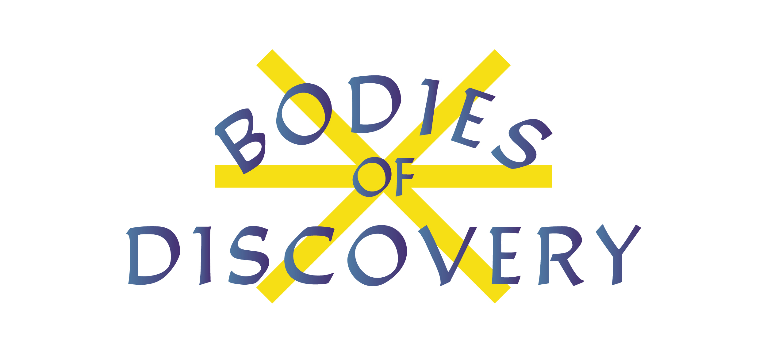 """Before three intersecting yellow lines, the words """"Bodies of Discovery"""" are typed in bold, blue text."""