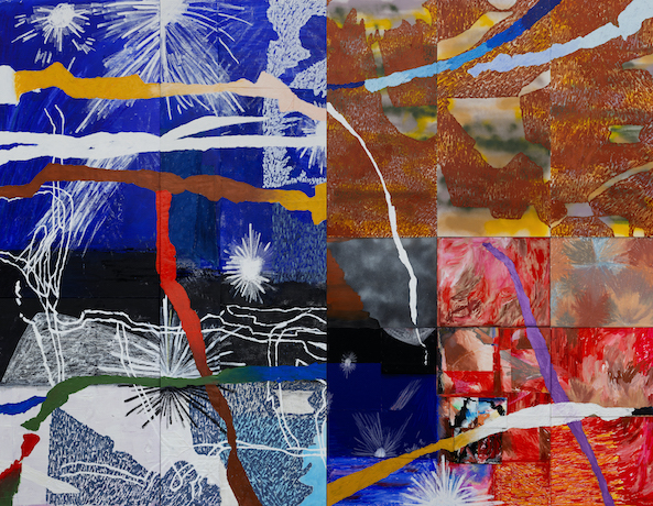 Tears, or splatters, rip across a grid of dotted textures, splotches of color and splays of white lines, like stars or fireworks or fluffs of an late-stage dandelion.