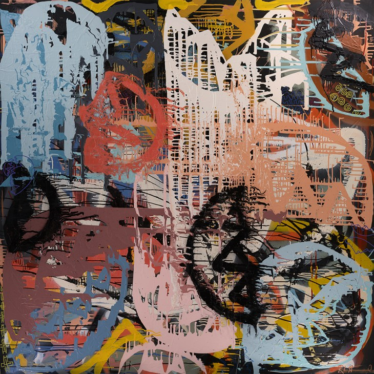Paint drips sideways and upside down in these dizzying layers of color, pattern, direction and emotion.