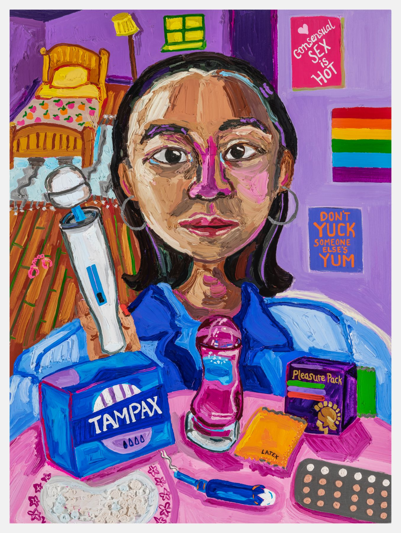 """A box of tampons, condoms, birth control; a vibrator; a dildo; a pregnancy test—all spread on a table before a figure, with medium-length black hair and hoop earrings, painted in portraiture. Behind them, a sign hangs on their wall, """"Don't Yuck Someone Else's Yum."""""""