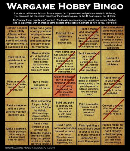 Stretching My Hobby Muscles: Wargame Hobby Bingo