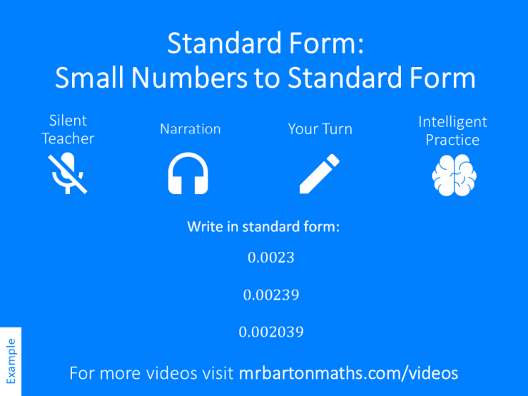 Small Numbers To Standard Form Variation Theory