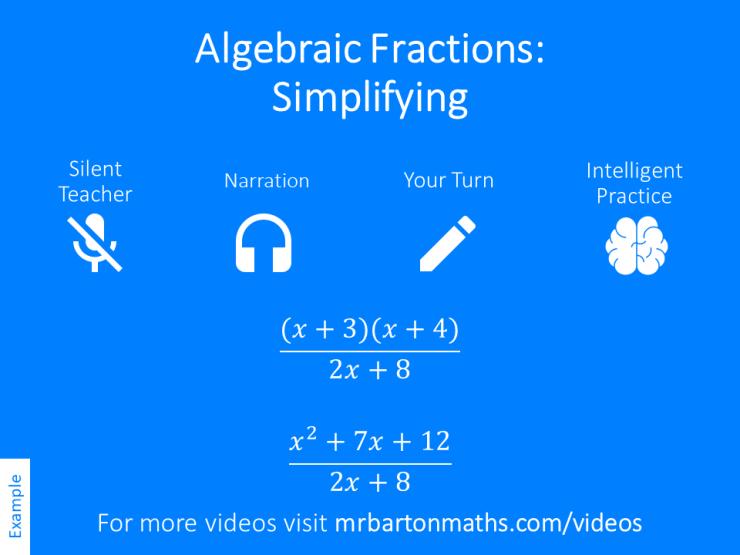 simplifying algebraic fractions  variation theory simplifying algebraic fractions