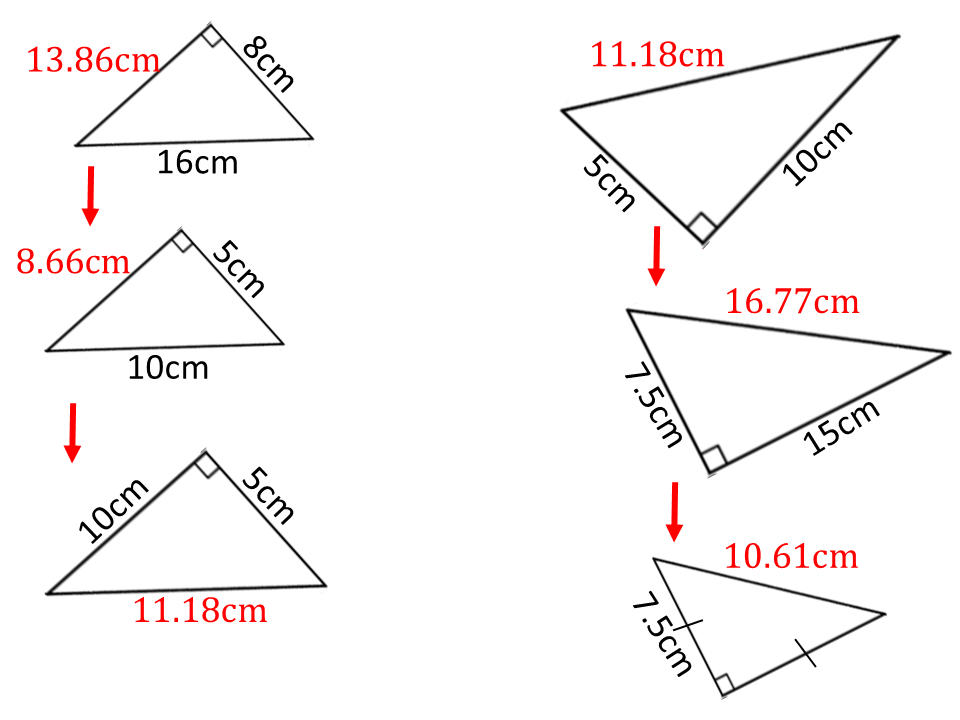 Missing lengths with Pythagoras' theorem