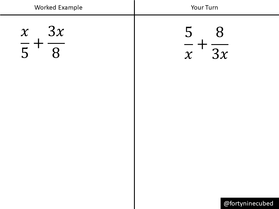 adding and subtracting algebraic fractions  variation theory  exampleproblem pair
