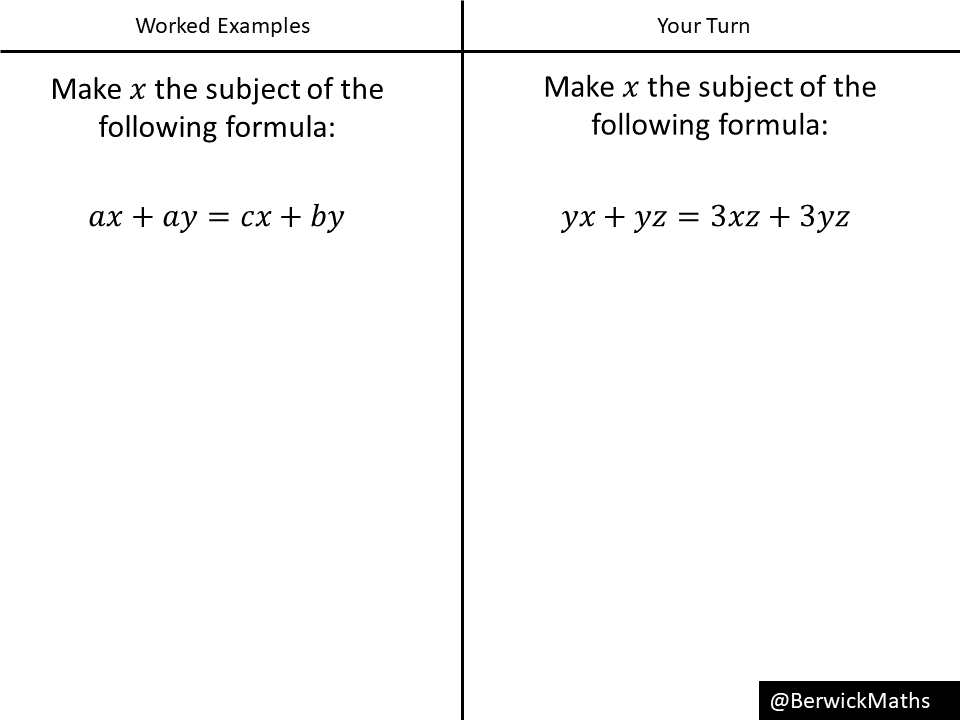Changing the subject of a formula (6 exercises) – Variation