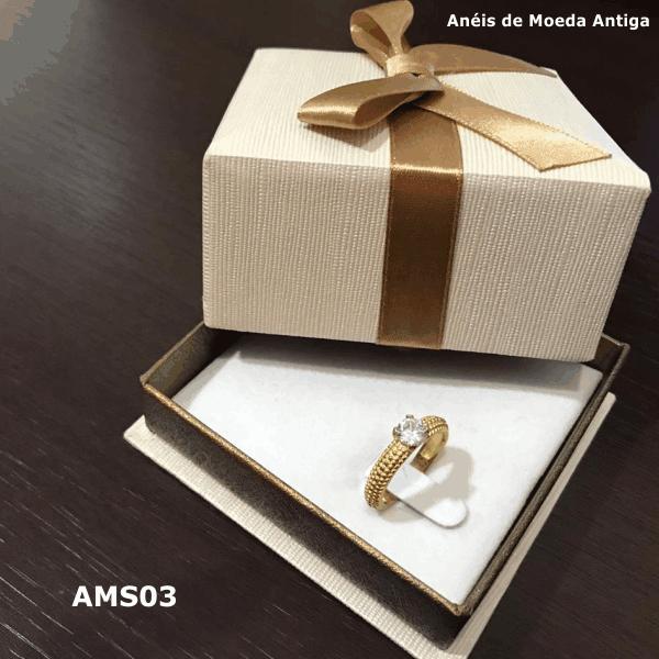 Anel Solitário de Moeda Antiga – AMS03