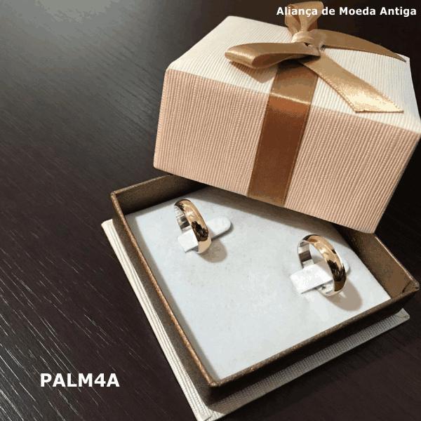 Par de Aliança de Moeda Antiga Abaulada 4MM com Revestimento em Prata – PALM4A