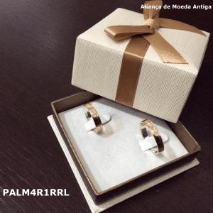 Par de Aliança de Moeda Antiga Reta 4MM com Revestimento em Prata com 1 Risco Reto Lateral – PALM4R1RRL