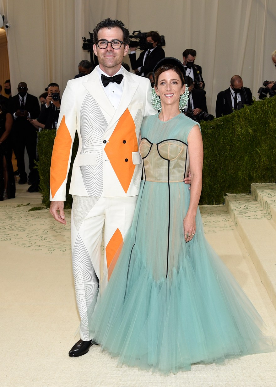"""Adam Mosseri, left, and Monica Mosseri attend The Metropolitan Museum of Art's Costume Institute benefit gala celebrating the opening of the """"In America: A Lexicon of Fashion"""" exhibition on Monday, Sept. 13, 2021, in New York. (Photo by Evan Agostini/Invision/AP)"""