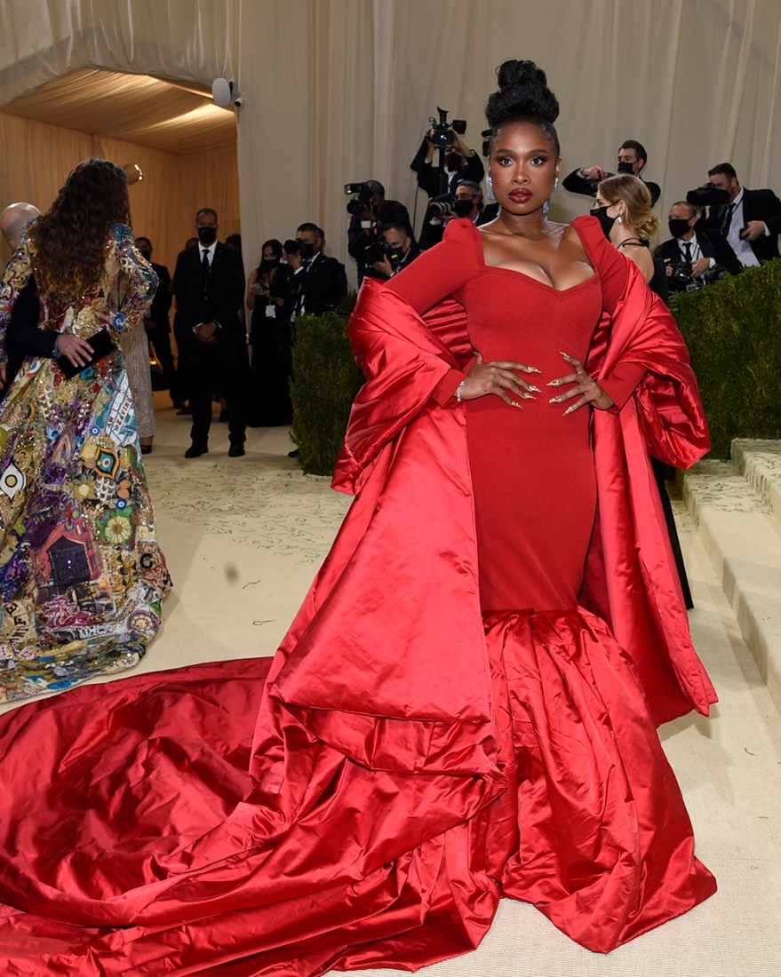 """Jennifer Hudson attends The Metropolitan Museum of Art's Costume Institute benefit gala celebrating the opening of the """"In America: A Lexicon of Fashion"""" exhibition on Monday, Sept. 13, 2021, in New York. (Photo by Evan Agostini/Invision/AP)"""