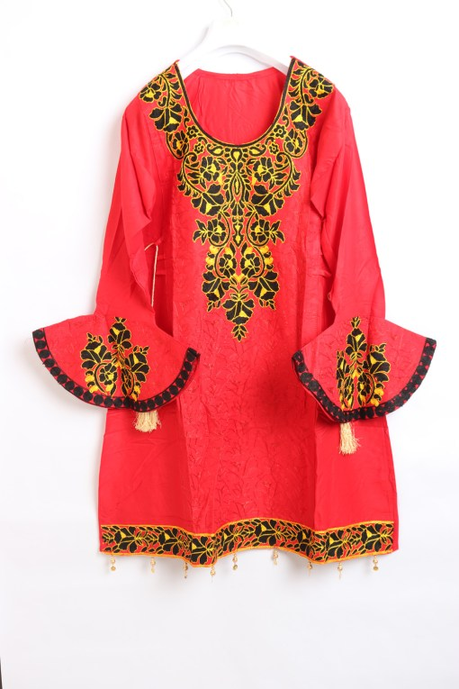 Red Women Embroidered Linen stitched frock type shirts
