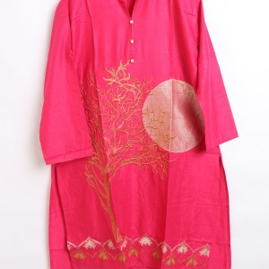 Digital Embroidered Linen stitched shirts for women 1003-2