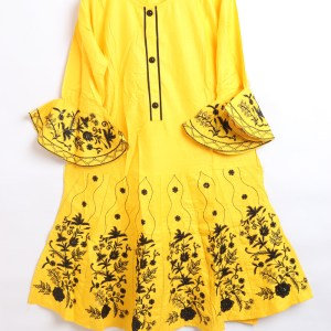 Beautiful Embroidered Linen stitched frock shirt for women 1500-1