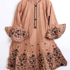 Beautiful Embroidered Linen stitched frock shirt for women 1500-3