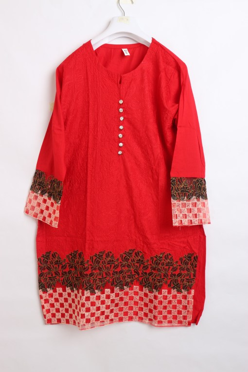 Traditional Embroidered Linen stitched shirts for women 1007-3